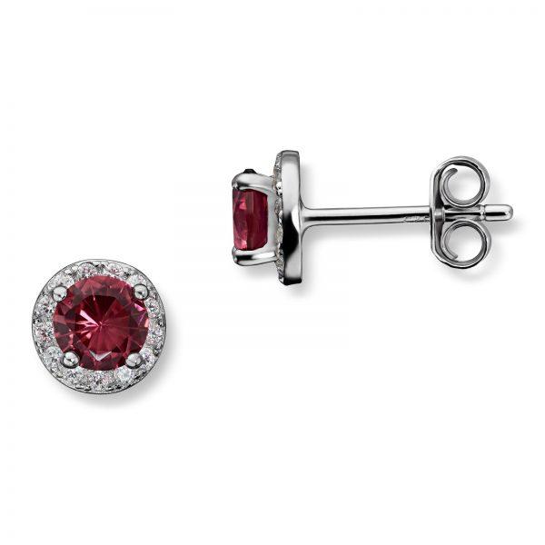 Mestergull Fin ørepynt i rhodinert sølv med rød krystall MG BASIC Ørepynt