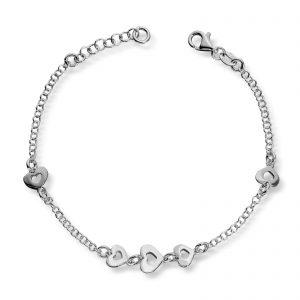 Mestergull Flott armbånd i sølv med hjerter MG BASIC Armbånd