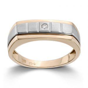 Mestergull Lekker ring til herre i gult gull med diamant MESTERGULL Ring