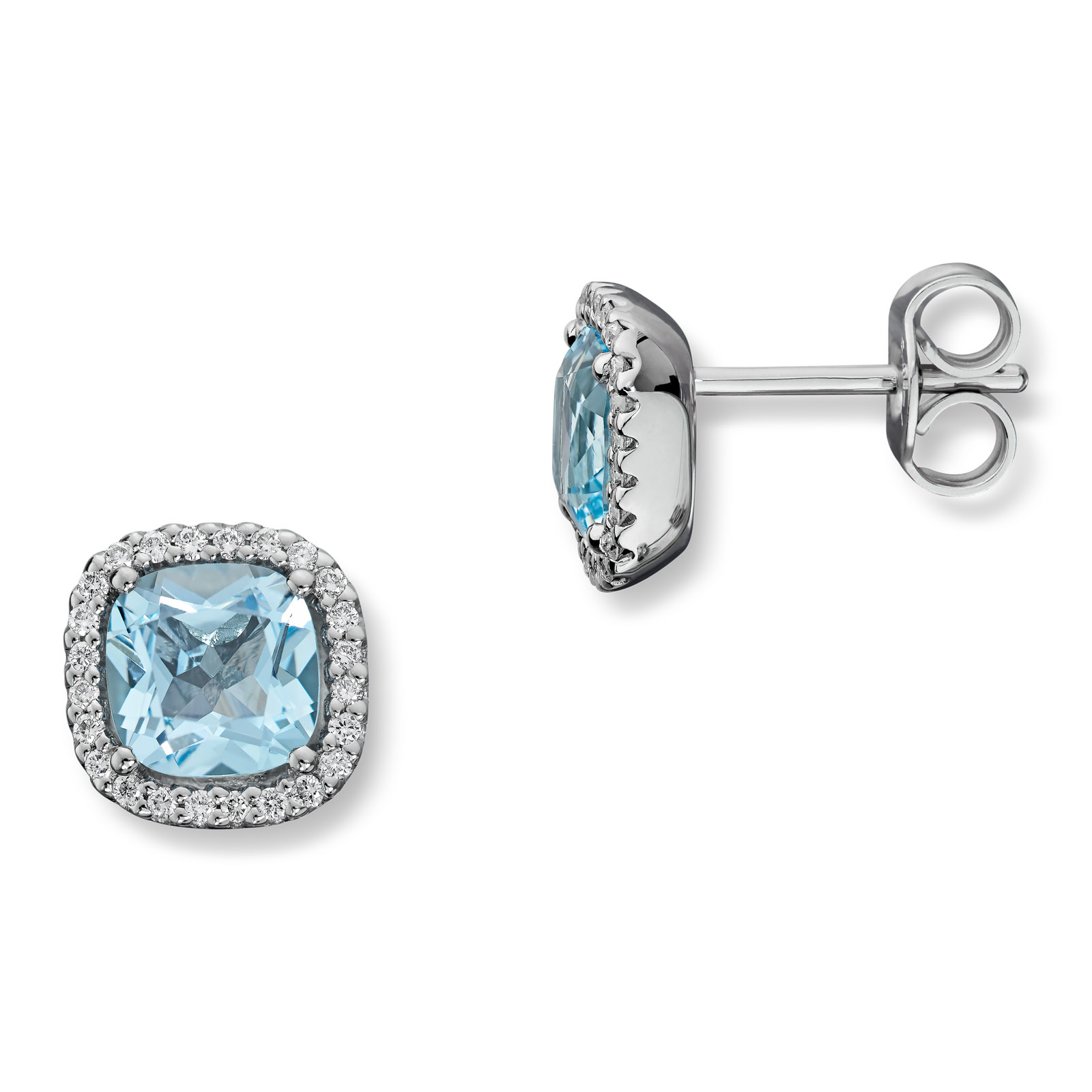 Mestergull Delikat ørepynt i hvitt gull med diamanter og blå topas MG DIAMONDS Ørepynt