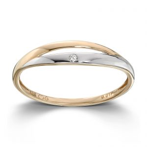 Mestergull Flott ring i gult og hvitt gull med diamant MESTERGULL Ring