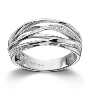 Mestergull Fin ring i hvitt gull med diamanter MG DIAMONDS Ring