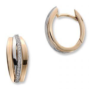 Mestergull Lekkre øreringer i gult og hvitt gull med diamanter MG DIAMONDS Ørepynt
