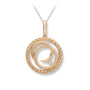 Mestergull Vakkert anheng sirkel i gult gull med diamant MESTERGULL Anheng