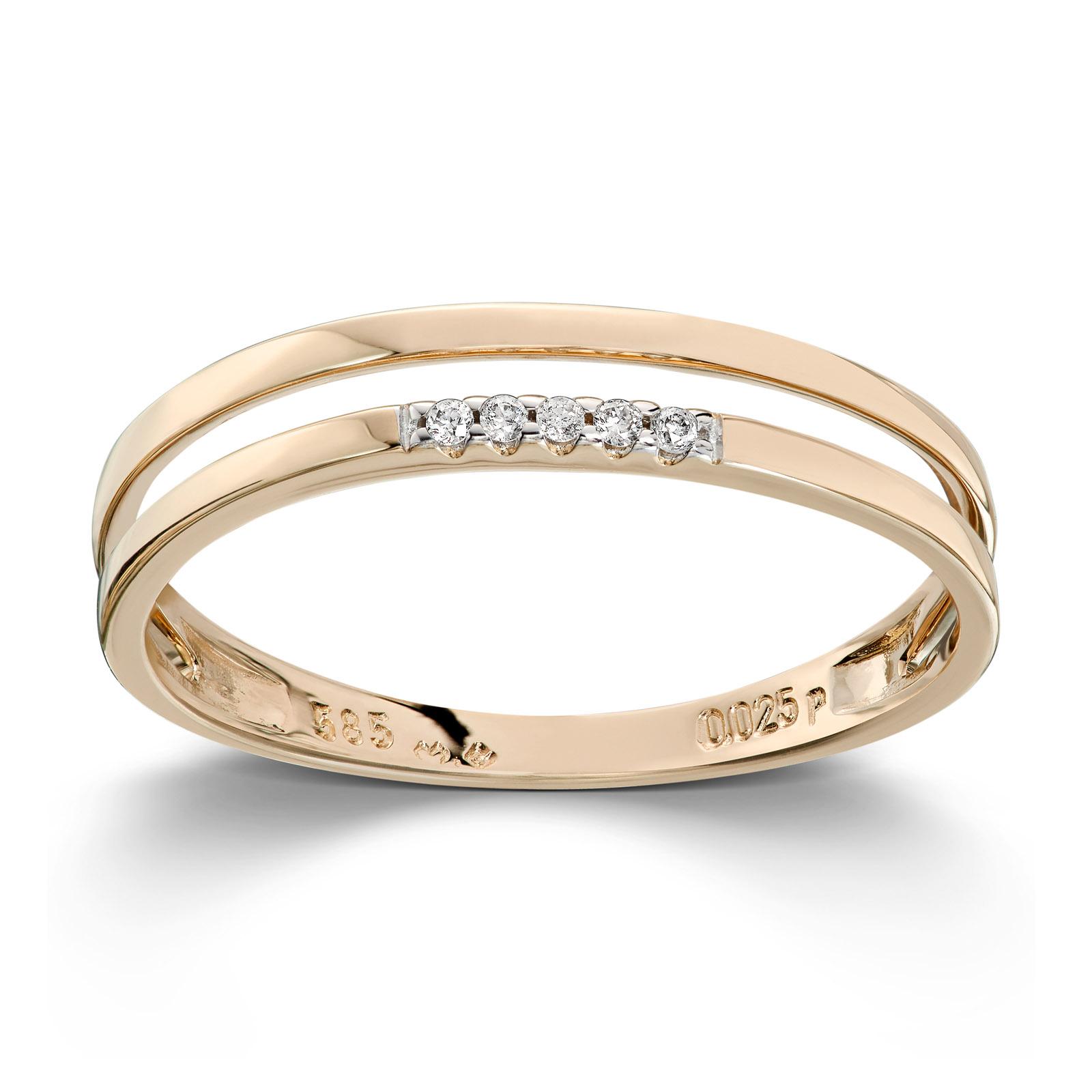 Mestergull Fin ring i gult gull med diamanter MESTERGULL Ring