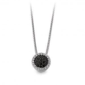 Mestergull Elegant anheng i rhodinert sølv med sorte og hvite cubic zirkonia VIVENTY Anheng