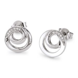 Mestergull Fin ørepynt med sirkel i rhodinert sølv med diamanter VIVENTY Ørepynt