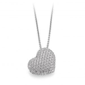 Mestergull Lekkert hjerte anheng i rhodinert sølv med cubic zirkonia VIVENTY Anheng