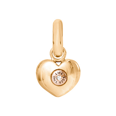 Mestergull Charm Heart Sweet Drops i 18kt. gult gull og rosé gull med en diamant LYNGGAARD Sweet Drops Charm