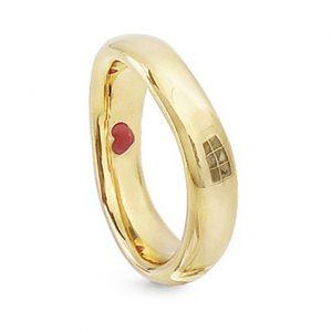 Mestergull Love Ring nr. 7 i 18 K Gult gull til Herre 4,5-5mm blank overflate LYNGGAARD Love Ring