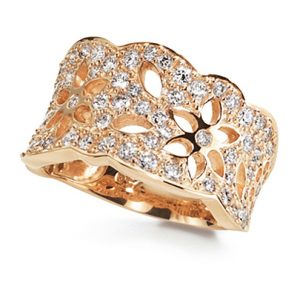 Mestergull Lace Ring medium i 18 kt. gult gull pavé med 63 diamanter totalt 1,13 ct. TwVs LYNGGAARD Lace Ring