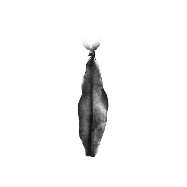 Mestergull Leaves anheng stort i oksidert sølv 7 cm LYNGGAARD Leaves Anheng