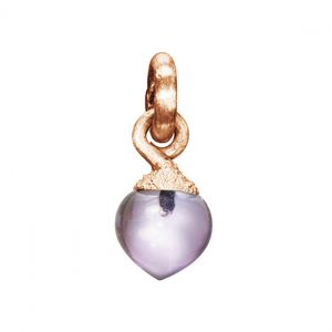 Mestergull Charm Sweet Drops i 18 K satinert rosé gull med amethyst LYNGGAARD Sweet Drops Charm