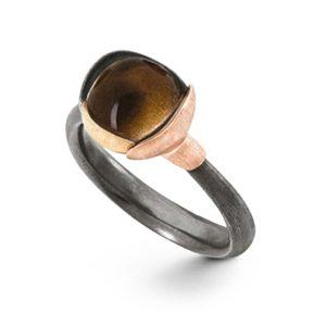 Mestergull Ring Lotus str. 1 i oksidert sølv med blad i 18 K rosé og gult gull - Røkkvarts LYNGGAARD Lotus Ring