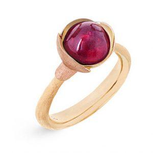 Mestergull Ring Lotus str. 1 i 18 K Gult gull med to blad i rosé gull - Rosa turmalin LYNGGAARD Lotus Ring