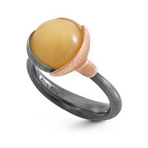Mestergull Ring Lotus str. 2 i oksidert sølv med blad i 18 K rosé og gult gull - Rav LYNGGAARD Lotus Ring