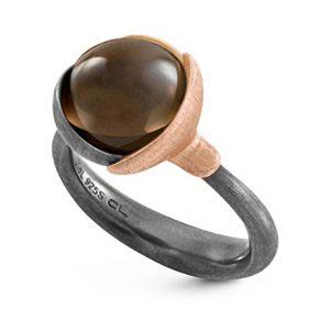 Mestergull Ring Lotus str. 2 i oksidert sølv med blad i 18 K rosé og gult gull - Røkkvarts LYNGGAARD Lotus Ring