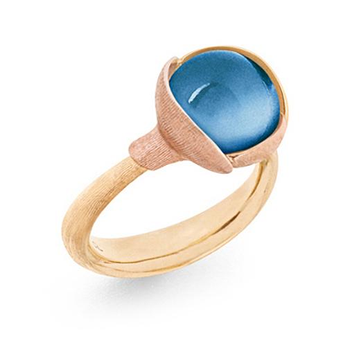 Mestergull Ring Lotus str. 2 i 18 K Gult gull med to blad i rosé gull - Swiss blå topas LYNGGAARD Lotus Ring