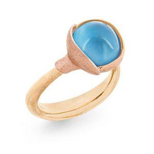 Mestergull Ring Lotus str. 2 i 18 K Gult gull med to blad i rosé gull - Sky blå topas LYNGGAARD Lotus Ring