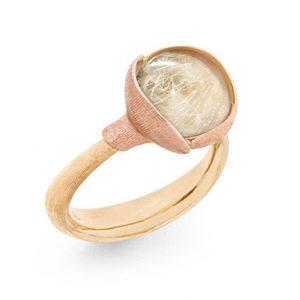 Mestergull Ring Lotus str. 2 i 18 K Gult gull med to blad i rosé gull - Rutilkvarts LYNGGAARD Lotus Ring