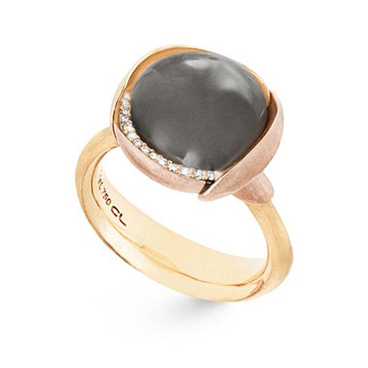 Mestergull Ring Lotus str. 3 i 18 K Gult gull med to blad i rosé gull -13 diamanter totalt 0,05 ct. TwVs - Grå månesten LYNGGAARD Lotus Ring