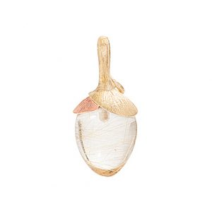 Mestergull Anheng Lotus lite i 18 K Gult gull med et blad i 18 K Rosé gull - Rutilkvarts LYNGGAARD Lotus Anheng