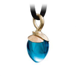 Mestergull Anheng Lotus lite i 18 K Gult gull med et blad i 18 K Rosé gull - Swiss blå topas LYNGGAARD Lotus Anheng