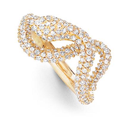 Mestergull Snakes ring Small i 18 K gult gull pavé med 207 - 216 diamanter totalt 1,22 - 1,24 ct. TwVs LYNGGAARD Snakes Ring