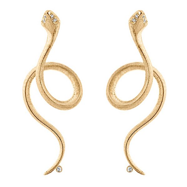 Mestergull Snakes Ørepynt i 18 K Gult gull med 5 diamanter totalt 0,026 ct. TwVs - selges enkeltvis LYNGGAARD Snakes Ørepynt