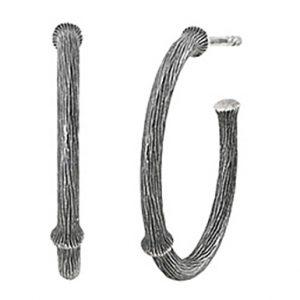 Mestergull Nature øreringer medium i oksidert sølv 21 mm LYNGGAARD Nature Ørepynt