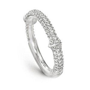 Mestergull Nature ring i 18 K Hvitt gull halvt pavé med 102 diamanter totalt 0,5 ct TwVs LYNGGAARD Nature Ring
