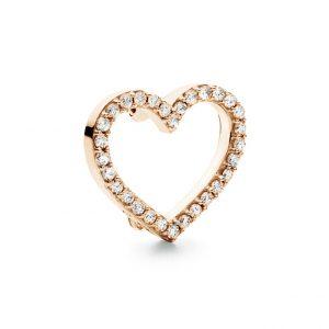 Mestergull Sweet Spot charm hjerte stort i 18 K Rosé gull med 30 diamanter totalt 0,30 ct. TwVs LYNGGAARD Sweet Spot Charm