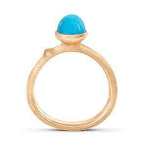 Mestergull Ring Lotus str. 0 i 18 K Gult gull med turkis LYNGGAARD Lotus Ring