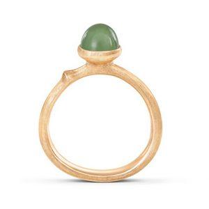Mestergull Lotus ring str. 0 i 18 kt. gult gull med serpentin LYNGGAARD Lotus Ring