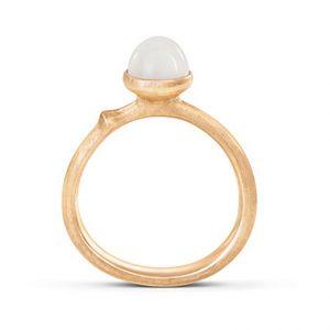 Mestergull Ring Lotus str. 0 i 18 K Gult gull med hvit månesten LYNGGAARD Lotus Ring