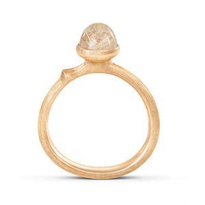 Mestergull Ring Lotus str. 0 i 18 K Gult gull med rutilkvarts LYNGGAARD Lotus Ring