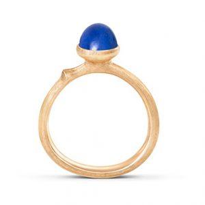 Mestergull Ring Lotus str. 0 i 18 K Gult gull med lapis lazuli LYNGGAARD Lotus Ring
