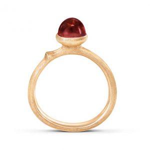 Mestergull Lotus ring str. 0 i 18kt. gult gull med rød turmalin LYNGGAARD Lotus Ring