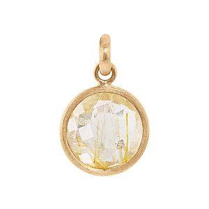 Mestergull Anhngeng medaljong i 18kt. gult gull med rutilkvarts LYNGGAARD Anheng