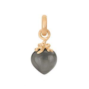 Mestergull Charm filigran Sweet Drops i 18 K Gult gull med grå månesten LYNGGAARD Sweet Drops Charm