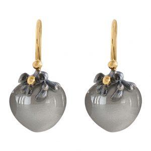 Mestergull Dew Drops liten ørepynt filigran i sølv med 18kt. gult gull detaljer grå månesten LYNGGAARD Dew Drops Ørepynt