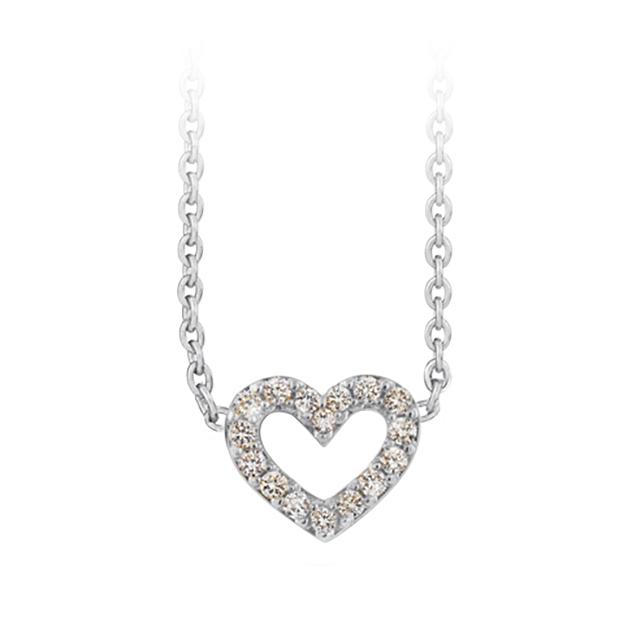 Mestergull Collier Heart i 18 K Hvitt gull med 16 diamanter totalt 0,16 ct. TwVs LYNGGAARD Hearts Kjede