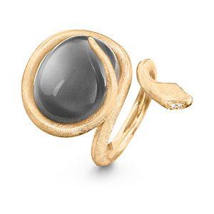 Mestergull Snakes ring i 18 K Gult gull med grå månesten og 4 diamanter totalt 0,02 ct TwVs LYNGGAARD Snakes Ring