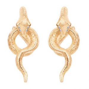 Mestergull Snakes ørepynt små i 18 K Gult gull med 8 diamanter totalt 0,036 ct. TwVs LYNGGAARD Snakes Ørepynt