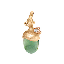Mestergull Anheng lille eikenøtt Forest i 18 K Gult og rosé gull - 1 diamant 0,01 ct. TwVs serpentin LYNGGAARD Forest Anheng