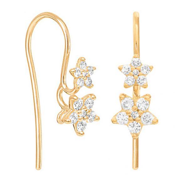 Mestergull Shooting Stars ørepynt i 18 K Gult gull med 24 diamanter totalt 0,30 ct. TwVs LYNGGAARD Shooting Stars Ørepynt