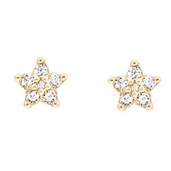 Mestergull Shooting Stars mini ørepynt i 18 K Gultg gull med 12 diamanter totalt 0,12 ct. TwVs LYNGGAARD Shooting Stars Ørepynt
