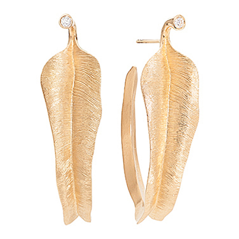 Mestergull Leaves store øreringer i 18 K Gult gull med 2 diamanter totalt 0,04 c. Twvs LYNGGAARD Leaves Ørepynt