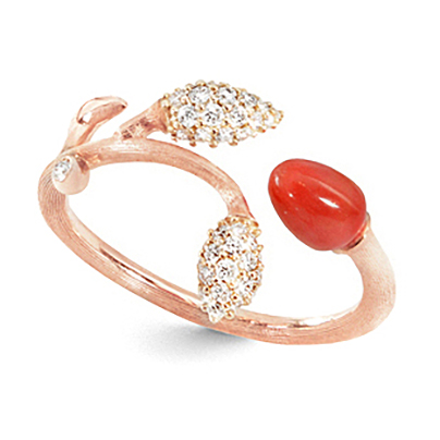 Mestergull Blooming ring i 18 K Rosé gull 2 gult gull pavé blad med 44 diamanter totalt 0,18 ct. TwVs Rød korall LYNGGAARD Blooming Ring