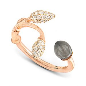 Mestergull Blooming ring i 18 K Rosé gull 2 gult gull pavé blad med 44 diamanter totalt 0,18 ct. TwVs Grå månesten LYNGGAARD Blooming Ring